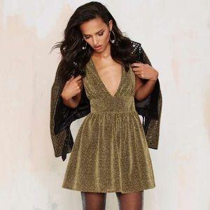 Nasty Gal Gold Struck Metallic Dress